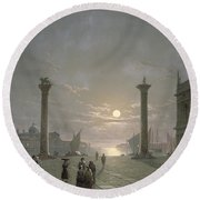 The Grand Canal From Piazza San Marco Round Beach Towel