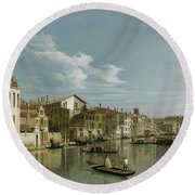 The Grand Canal In Venice From Palazzo Flangini To Campo San Marcuola Round Beach Towel