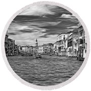 The Grand Canal - Paint Bw Round Beach Towel