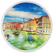 The Grand Canal Venice  Round Beach Towel