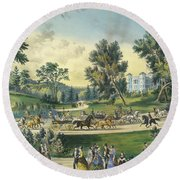 The Grand Drive, Central Park, New York, 1869 Round Beach Towel