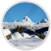 The  Grand Tetons From Alta Wyoming Round Beach Towel