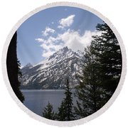 The Grand Tetons Lake Round Beach Towel