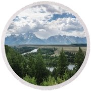 The Grand Tetons Round Beach Towel by Margaret Pitcher