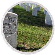 The Grave Of Martha B. Ellingsen In Arlington's Nurses Section Round Beach Towel
