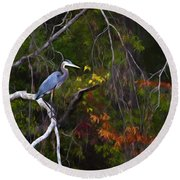 The Great Blue Heron Round Beach Towel