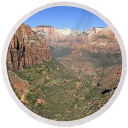 The Great Canyon Of Zion Round Beach Towel