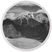 The Great Colorado Sand Dunes  125 Black And White Round Beach Towel