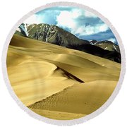 The Great Colorado Sand Dunes Color Print Round Beach Towel