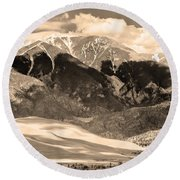 The Great Colorado Sand Dunes In Sepia Round Beach Towel