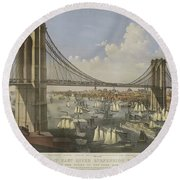 The Great East River Suspension Bridge Round Beach Towel