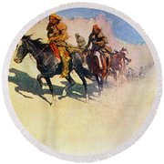 The Great Explorers Round Beach Towel by Frederic Remington