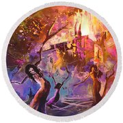 The Great Fire Of Woman Round Beach Towel