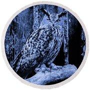 Majestic Great Horned Owl Blue Indigo Round Beach Towel