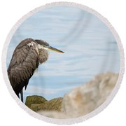 The Great Old Heron Round Beach Towel
