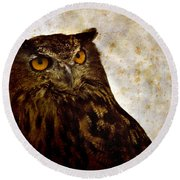 The Great Owl Round Beach Towel