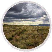 The Great Plains Of New Mexico Round Beach Towel