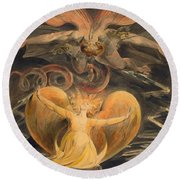 The Great Red Dragon And The Woman Clothed With The Sun Round Beach Towel