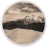 The Great Sand Dunes And Sangre De Cristo Mountains - Sepia Round Beach Towel