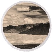 The Great Sand Dunes Panorama 2 Sepia Round Beach Towel