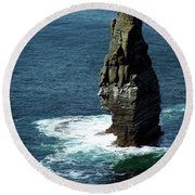 The Great Sea Stack Brananmore Cliffs Of Moher Ireland Round Beach Towel