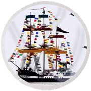 The Great Ship Gasparilla Round Beach Towel