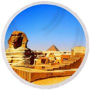The Great Sphinx Of Giza Round Beach Towel