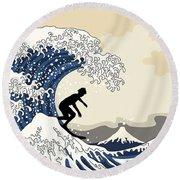 The Great Surfer Off Kanagawa Round Beach Towel