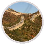 The Great Wall On Beautiful Autumn Day Round Beach Towel