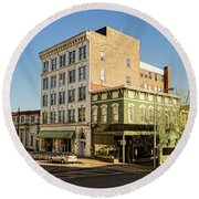 The Green Building On The Corner Round Beach Towel