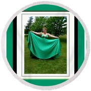 The Green Dress Round Beach Towel