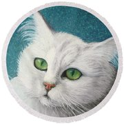 The Green Eyed Vamp Round Beach Towel