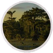 The Green Green Trees Of Home Round Beach Towel