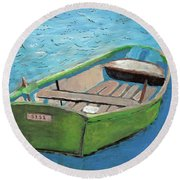 The Green Rowboat Round Beach Towel