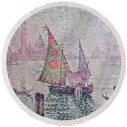 The Green Sail Round Beach Towel