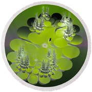 The Green Towers Round Beach Towel