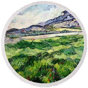 The Green Wheatfield Behind The Asylum Round Beach Towel by Vincent van Gogh