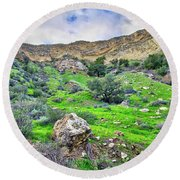 The Greening Of The Las Llajas Trail  Round Beach Towel