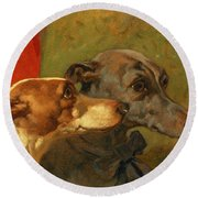 The Greyhounds Charley And Jimmy In An Interior Round Beach Towel