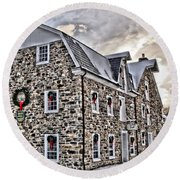 The Grist Mill And Ye Old Tavern Round Beach Towel