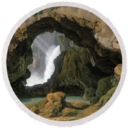 The Grotto Of Neptune In Tivoli Round Beach Towel