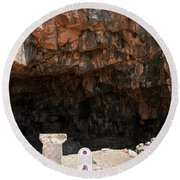 The Grotto Of The God Pan Round Beach Towel