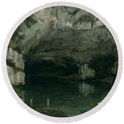 The Grotto Of The Loue Round Beach Towel by Gustave Courbet