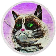 The Grumpy Cat From The Internets Round Beach Towel