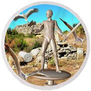 The Guardian Of The Ruins 1 Round Beach Towel