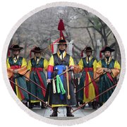 The Guards Of Seoul. Round Beach Towel