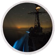 The Guided-missile Cruiser Uss San Jacinto Round Beach Towel