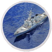 the guided-missile destroyer USS Okane Round Beach Towel