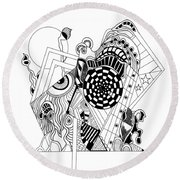 Guitar Man...   - L'homme Guitare... Round Beach Towel