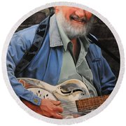 The Guitar Player Round Beach Towel